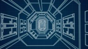 Vorridor bleu de croquis de mise au point de vaisseau spatial banque de vidéos