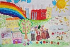 Vorschüler vom Kindergarten auf dem Weg lizenzfreie abbildung