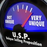 VORSCHLAG-Messgerät-Niveau unterschiedliches spezielles Qua USPs einzigartiges Verkaufs Lizenzfreies Stockfoto