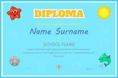Vorschule-Kinderdiplomzertifikat-Designschablone Stockbilder