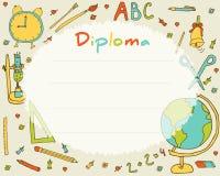 Vorschulvolksschule Kinderdiplom-Zertifikathintergrund Stockbilder