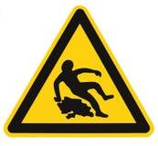 Vorsicht glatt, als nasses Text-Zeichen, schwarzes Gelb Fußbodenbelag-Bereichs-Gefahrenwarndreieck-Sicherheits-Ikone Signage loka Lizenzfreie Stockfotografie