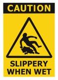 Vorsicht glatt, als nasses Text-Zeichen, schwarzes Gelb Fußbodenbelag-Bereichs-Gefahrenwarndreieck-Sicherheits-Ikone Signage loka Lizenzfreies Stockfoto
