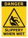 Vorsicht glatt, als nasses Text-Zeichen, schwarzes Gelb Fußbodenbelag-Bereichs-Gefahrenwarndreieck-Sicherheits-Ikone Signage loka Lizenzfreie Stockfotos