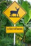 Vorsicht-Rotwild-Überfahrtzeichen Stockfotos