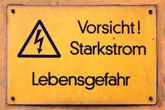 Vorsicht Starkstrom Imágenes de archivo libres de regalías