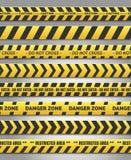 Vorsicht yelow Bandsatz stock abbildung