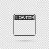 Vorsicht-Zeichenikone des Symbols gelbe, Ausrufezeichen, warnende gefährliche Ikone auf transparentem Hintergrund stock abbildung