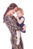 Vorsichtige Mutter mit Kind Stockbilder