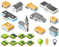 Vorstadtgemeinschaftsisometrischer Stadtsatz Lizenzfreie Stockbilder