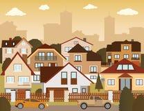 Vorstadthäuser im Herbst Stockfotos