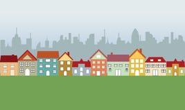 Vorstadthäuser und Stadt Stockfotografie