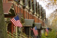 Vorstadtnachbarschaft in der Südseite von Chicago Stockbilder