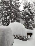 Vorstadtnachbarschafts-Blizzard - tiefer Schnee Coverng ein Gas-Grill Lizenzfreie Stockfotografie