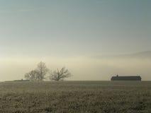 Vorstmist tijdens een de winterochtend op een landbouwbedrijf in het land Royalty-vrije Stock Afbeelding