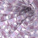 Vortex d'argent de 500 euro notes Image libre de droits