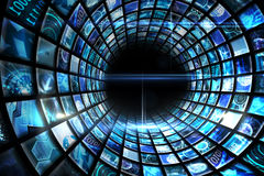 Vortex of digital screens in blue Royalty Free Stock Photography