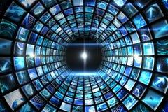 Vortex of digital screens in blue Stock Image