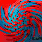 Vortex illustration. Twirl background. Distortion of hexagons. 3d backdrop Stock Photo