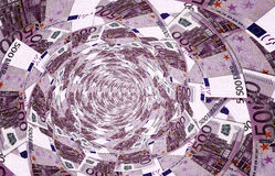 A vortex made of 500,- euro banknotes. 3d illustration Royalty Free Stock Photo