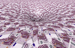 A vortex made of 500,- euro banknotes. 3d illustration Royalty Free Stock Photography
