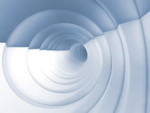 Vortex tunnel interior, light blue toned 3d. Abstract digital background, white bent vortex tunnel interior, light blue toned 3d illustration Royalty Free Stock Photography