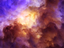 Vortext Fantasy Storm Painting. Surreal, storm clouds shading from dark purples and reds to oranges and yellows symbolizing a range of concepts such as creation Royalty Free Stock Photography