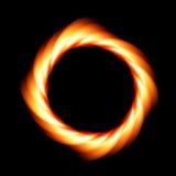 Vortice del fuoco su fondo scuro Anello di fuoco Illustrazione di vettore Fotografia Stock Libera da Diritti