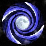 Vortice ipnotico con la luna piena illustrazione vettoriale