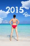 Vorwärts schauen zu Konzept 2015 des neuen Jahres Stockfotografie