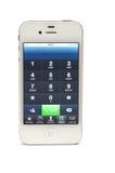 Vorwahlknopfzahl auf iPhone 4 Stockbilder
