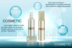 Vorzügliche kosmetische Anzeigenschablone, leeres Modell mit funkelndem bokeh Hintergrund und Blendwirkung, Sprühflasche, tu Stock Abbildung