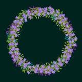 Vorzüglicher Kranz mit ausführlichen Blumen, Blätter, Blumenblätter Stock Abbildung