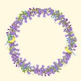 Vorzüglicher Kranz mit ausführlichen Blumen, Vögel, Blätter, Blumenblätter VE Vektor Abbildung