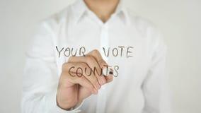 Vos comptes de vote, écrits sur le verre Photographie stock