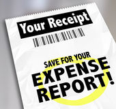 Vos économies de reçu pour le document de paiement de rapport de dépenses Photos libres de droits