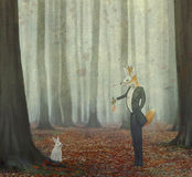 Vos en konijn stock illustratie