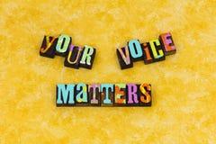 Vos sujets d'opinion de voix parlent image libre de droits