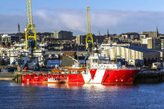 VOS Valiant in Aberdeen. Vessel VOS VALIANT IMO: 9510773, MMSI: 235089032 is an offshore tug/supply ship built in 2011 and currently sailing under the flag of Royalty Free Stock Images