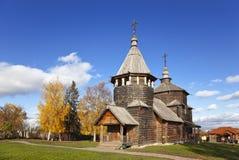 Voskresenskaya木教会在苏兹达尔博物馆,俄罗斯 库存图片