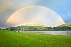 Voss. A rainbow over Voss city in Norway Stock Image