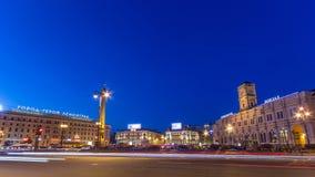 Vosstaniya square and Obelisk Hero City Leningrad timelapse. ST.PETERSBURG, RUSSIA. Vosstaniya Rebellion square and Obelisk Hero City Leningrad night timelapse stock video