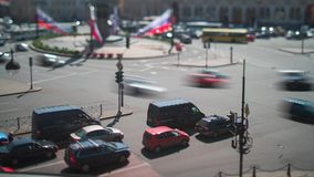 Vosstaniya Square Saint Petersburg Tilt-Shift Time Lapse. And stock video footage