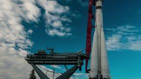 Vostok-1 is het Eerste Bemande Ruimtevaartuig stock videobeelden