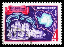 Vostok and Mirny vessels, map of Antarctic,150th Anniversary of Bellinsgauzen and Lazarev's Antarctic Expedition serie, c. MOSCOW, RUSSIA - OCTOBER 21, 2018: A royalty free stock photos