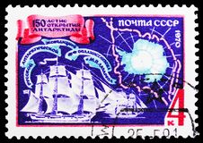 Vostok and Mirny vessels, map of Antarctic, 150th Anniversary of Bellinsgauzen and Lazarev's Antarctic Expedition serie,. MOSCOW, RUSSIA - FEBRUARY 20, 2019: A stock photos