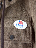 Voté la etiqueta engomada Foto de archivo