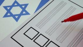 Votación de papel de votación en Israel almacen de metraje de vídeo