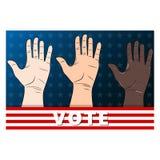 Votaci?n de tres manos Palmas de la mano de diversas razas ilustración del vector