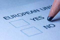 Votación sobre la unión europea Imagenes de archivo